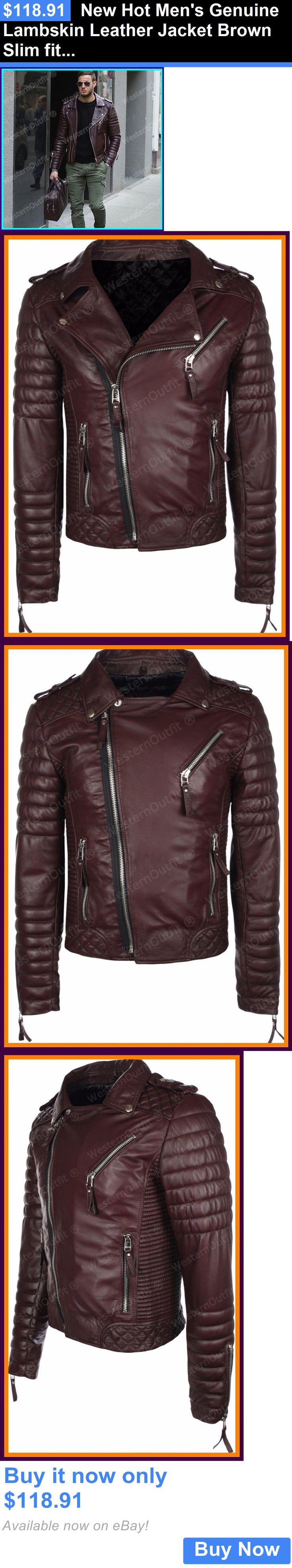 Men Coats And Jackets: New Hot Mens Genuine Lambskin Leather Jacket Brown Slim Fit Motorcycle Jacket BUY IT NOW ONLY: $118.91