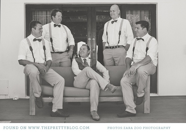 groomsmen dressed in bow tie & clothing braces