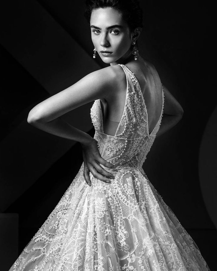 Ersa Atelier 2018 sleeves V-neckline french lace wedding dress accented by hand embroidered pearl and crystal beading