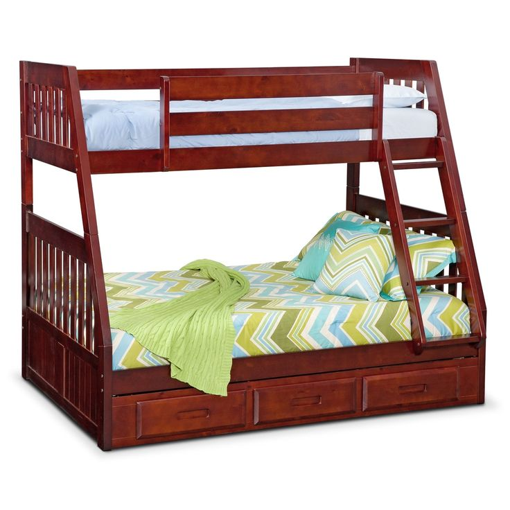 Beadboard Bedtime. The Ranger Merlot Twin over Full bunk bed with drawer storage shows that even kids can have style. A merlot-colored finish on solid pine gives this bunkbed with beadboard design a durable, elegant look. Slatted sides wrap around from head to foot, offering additional security for sleeping or playing on the top bunk. Underbed drawers supply extra storage space. (Mattress set and pillows are not included.) Customer assembly is required.