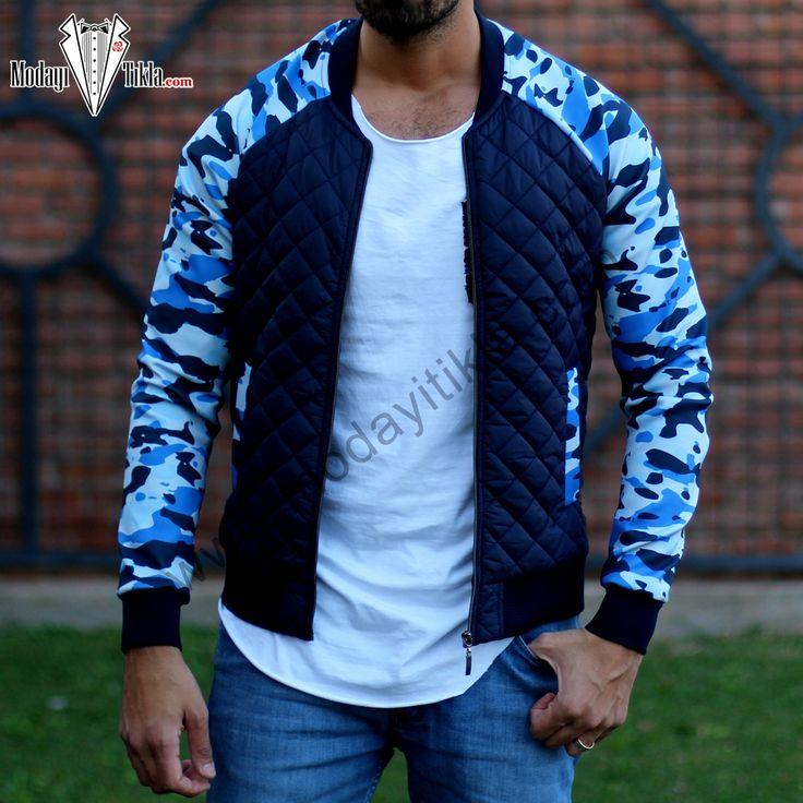 Mavi Kamuflaj Ceket