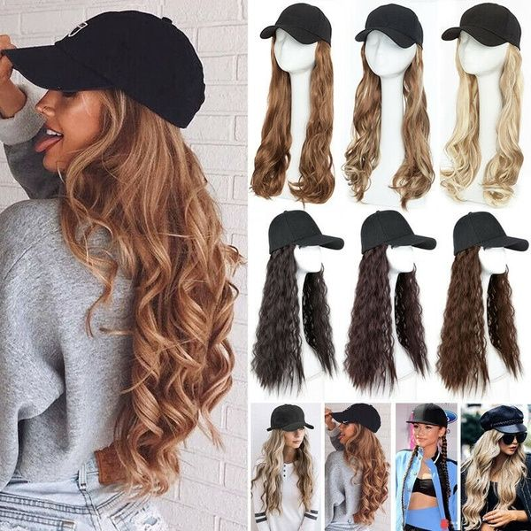 Girls Long Straight Synthetic Baseball Cap Wigs Hair Extensions Naturally Connect One Pieces Hat Wig Adjustable Sizes Wigs Hair Extensions Black Blue Ombre Hair Wigs