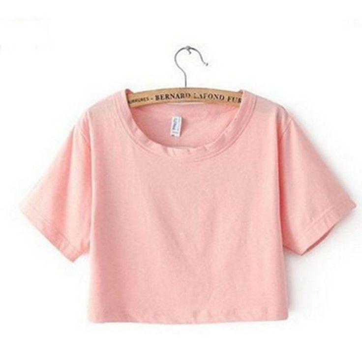 2016 Harajuku T Shirt Women Casual Fitness Crop Top Hot Sale 6 Color Sexy Cropped Top Casual Women T-Shirt Plain Loose Crop Tops