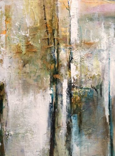 """Daily Painters Abstract Gallery: Abstract Mixed Media Painting """"Golden Awareness"""" by Intuitive Artist Joan Fullerton:"""