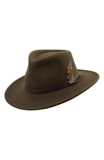 scala 'classico' crushable felt outback hat in olive