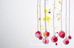 Weihnachskarten ganz einfach selber machen mit Aquarell- oder Wasserfarben und Fineliner | super easy DIY christmas cards made with water colours and sharpie | moritzwerk