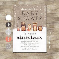 Bosque de invierno bebé ducha invitación animales por T3DesignsCo