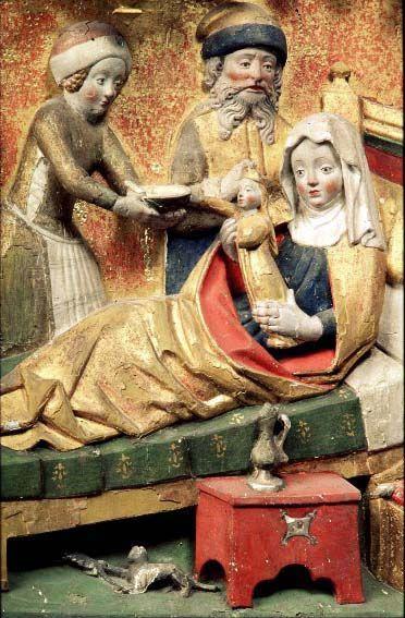 Motiv:Marie födelse Landskap, ort:Östergötland, Östra Ny Sakord:altarskåp Fotografi-ID:9218417 1450-1475