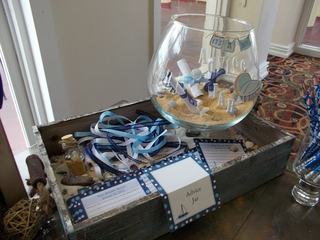 Nautical Baby Shower game table Advice Jar