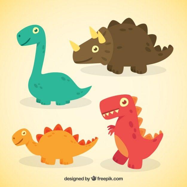 Nizza Karikatur Dinosaurier Premium Vektoren