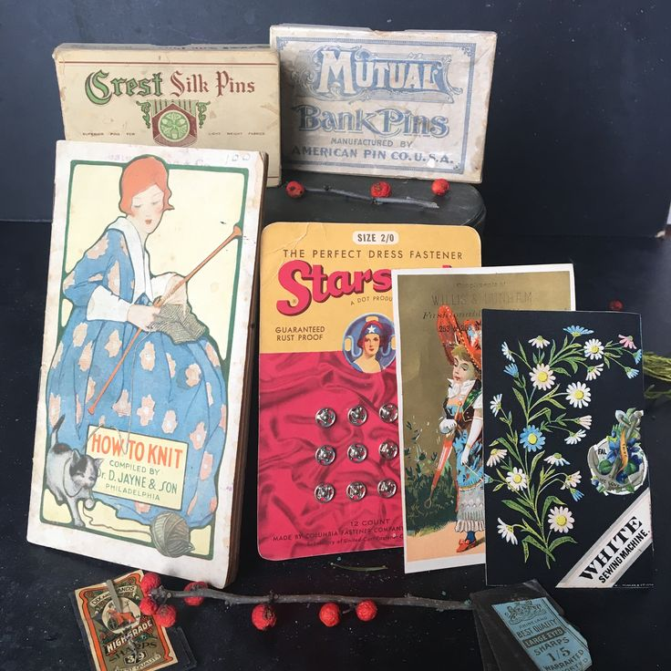 Large grouping of Vintage Sewing Notions~early to mid 1900s advert~Pins~Snaps~Knit~Needle books~antique collectibles ~ MilkweedVintageHome by MilkweedVintageHome on Etsy