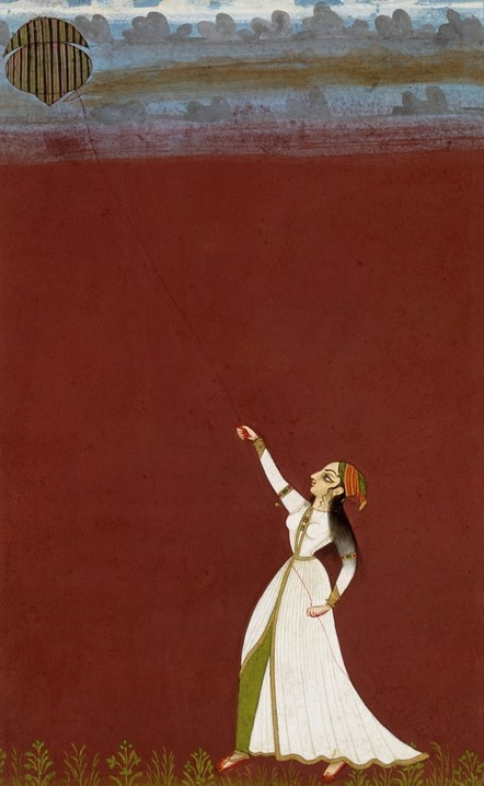 ca. 1740. A woman flying a Kite. from the kingdom of either Bikaner or Jodhpur in present-day Rajasthan, India. This form is known as a Nazar painting, meaning it was presented to the maharaja on a special occasion. opaque watercolor on paper, 573 x 421 mm, © V&A