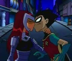 Resultado de imagem para robin and starfire kiss episode