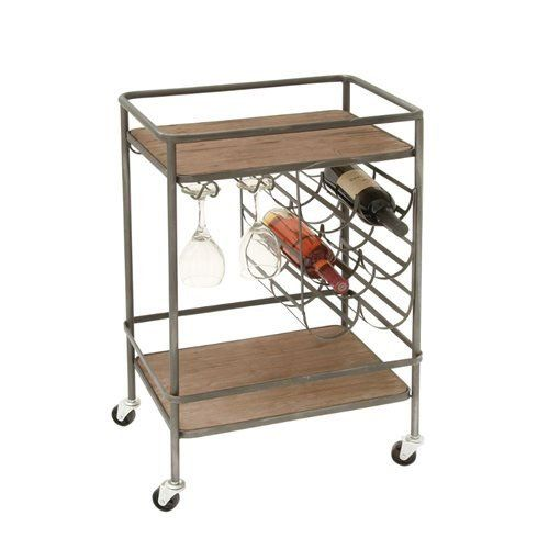 In a natural matte finish, this industrial rolling bar cart is made of durable wood (because we know you'll be using this a lot!).The built-in wine rack saves