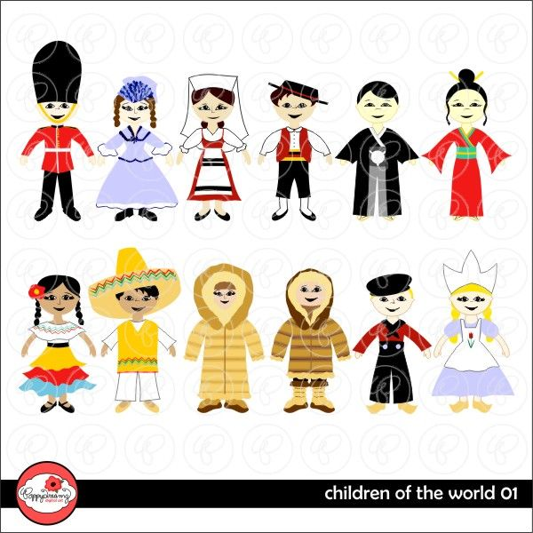 Children of the World 01 includes a boy and a girl from England, Italy, Japan, Mexico, Holland and Arctic/Eskimo.