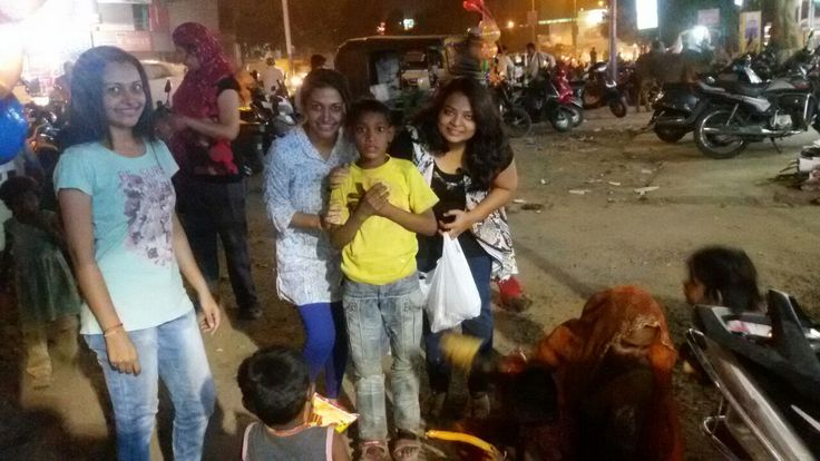 Another birthday celebration!!! The birthday girl decided to celebrate her birthday with the unknown ans less privileged children who mostly pass their day begging. She along with her friends shared their treat with the kids.