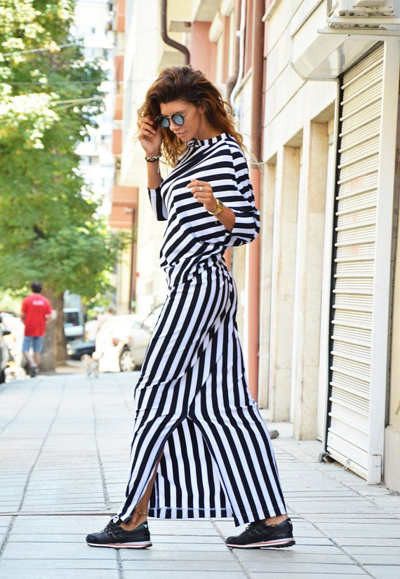 075ff73e360 Woman Long Dress, Black And White Striped Dress, Plus size Elegant ...
