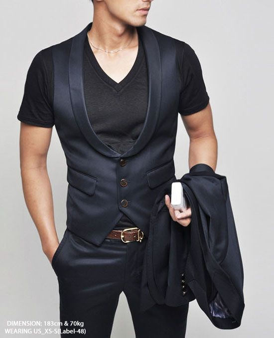 Outerwear :: Vests :: Wool Garbardine Vest From 3pc Suit 01-Vest 01 - Mens Fashion Clothing For An Attractive Guy Look