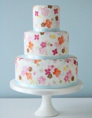 Painted Blossom Wedding Cake