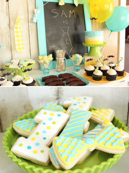 Little Man 1st Birthday Party by Lauren Kapeluck | TheCakeBlog.com Love the bow tie cookies!