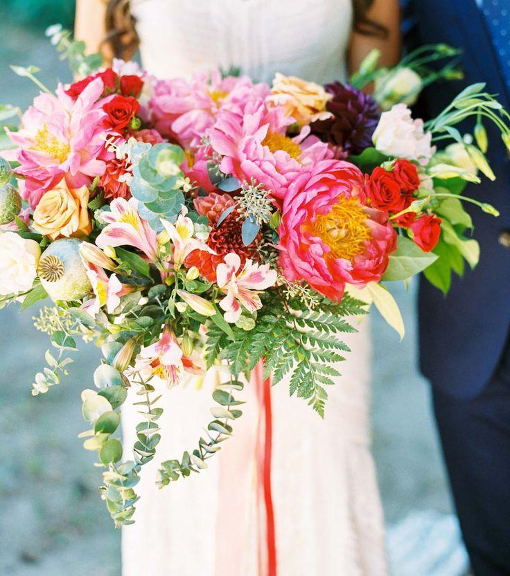 Bright boho peony bouquet