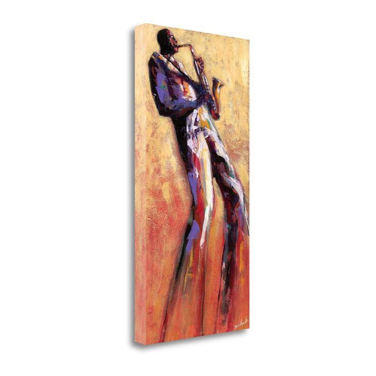 Tangletown Fine Art Sax Solo By Monica Stewart, Gallery Wrap Canvas, Green