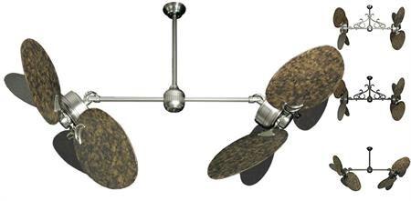 50 inch Twin Star III Double Ceiling Fan - Large Oval Barcelona Blades