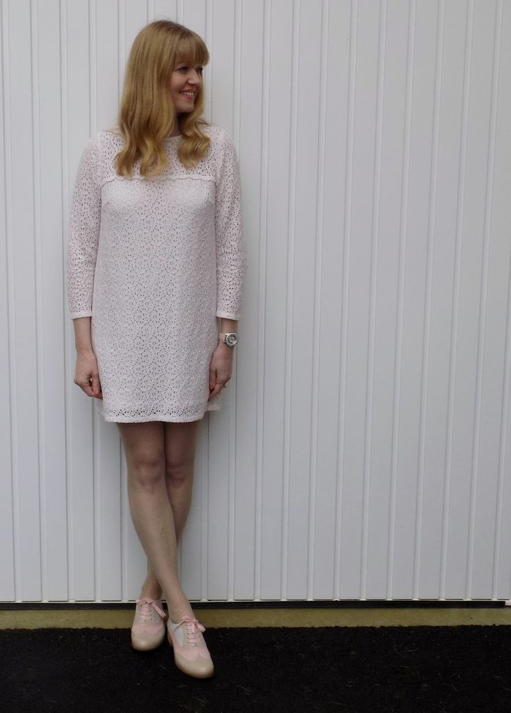 Cream Lace Shift Dress and Pink Brogues. Mini dress, sixties style dress, preppy, day dress, smart dress