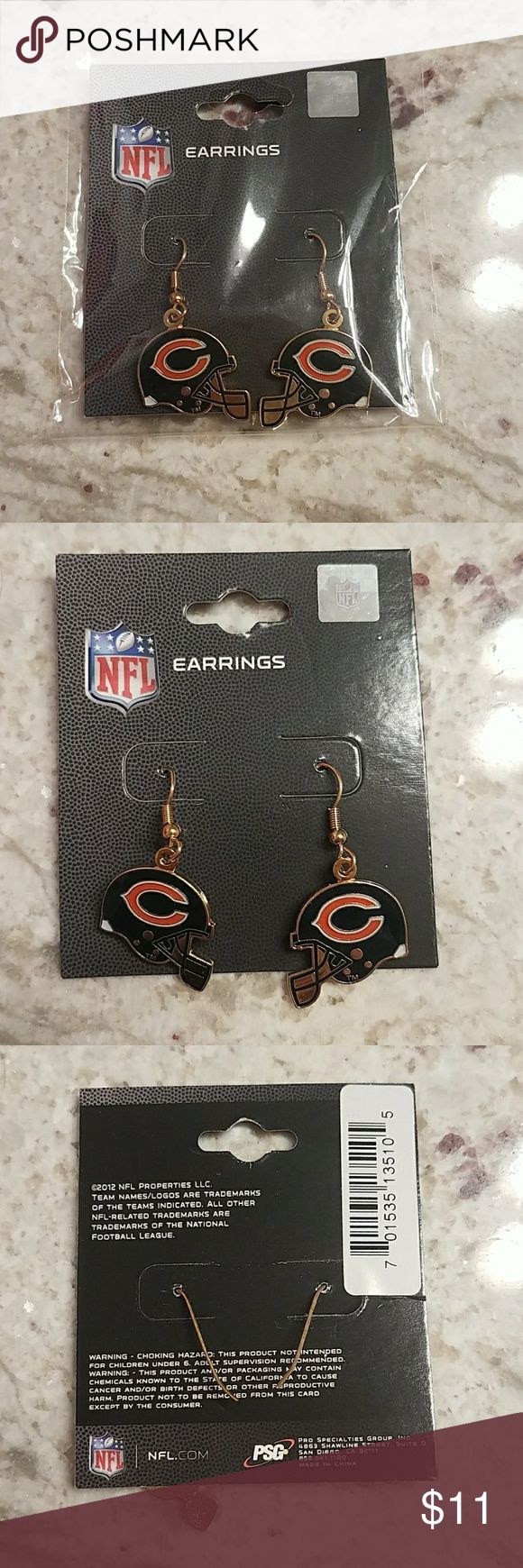 Chicago Bears Earrings Authentic NFL merchandise.   Brand new. These are still in the original packaging and have never been worn.   For pierced ears. Jewelry Earrings
