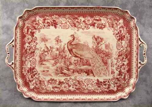 New. Has fabulous possibilities to layer with old and vintage red/white/pink transferware pieces!! 16x11 in