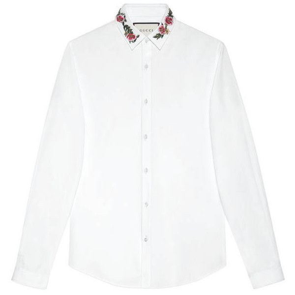 Gucci Cotton Duke Shirt With Embroidery (3,420 CNY) ❤ liked on Polyvore featuring men's fashion, men's clothing, men's shirts, men's casual shirts, cotton, men, ready to wear, shirts, gucci mens shirts and mens white cotton shirts