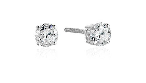 14k White Gold Diamond Earrings with Screw Backs (1/2 cttw J-K Color I2-I3 Clarity)