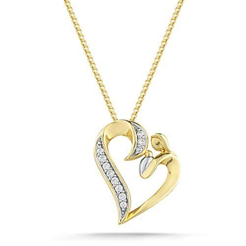"""Women's 10k Yellow Gold Diamond Mom and Baby Heart Pendant Necklace (1/10 cttw, I-J Color, I1-I2 Clarity), 18"""" Amazon Curated Collection. $220.00. All our diamond suppliers certify that to their best knowledge their diamonds are not conflict diamonds.. The total diamond carat weight listed is approximate. Variances may be up to .05 carats.. Made in India. Save 54% Off!"""
