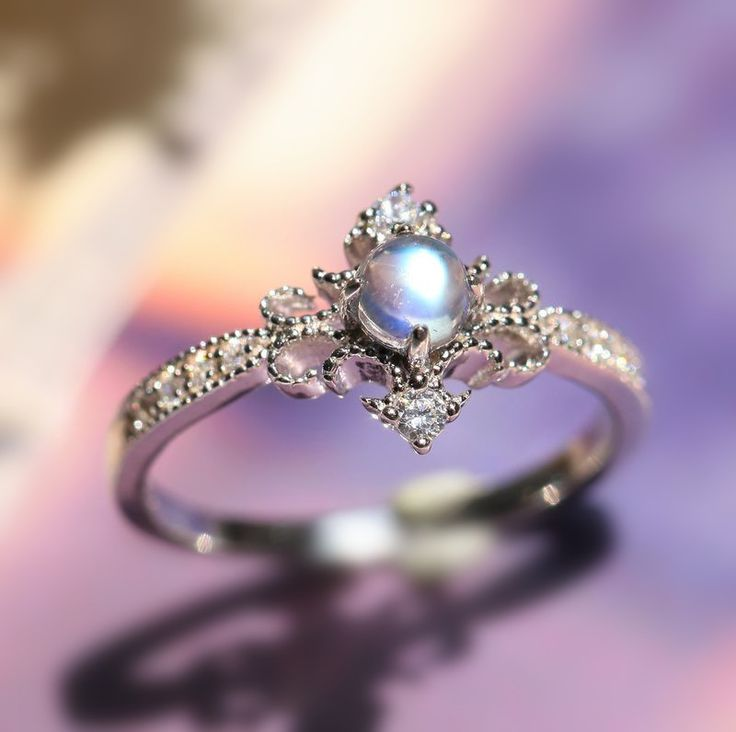 unique desgner art deco blue moonstone sterling silver promise ring for her