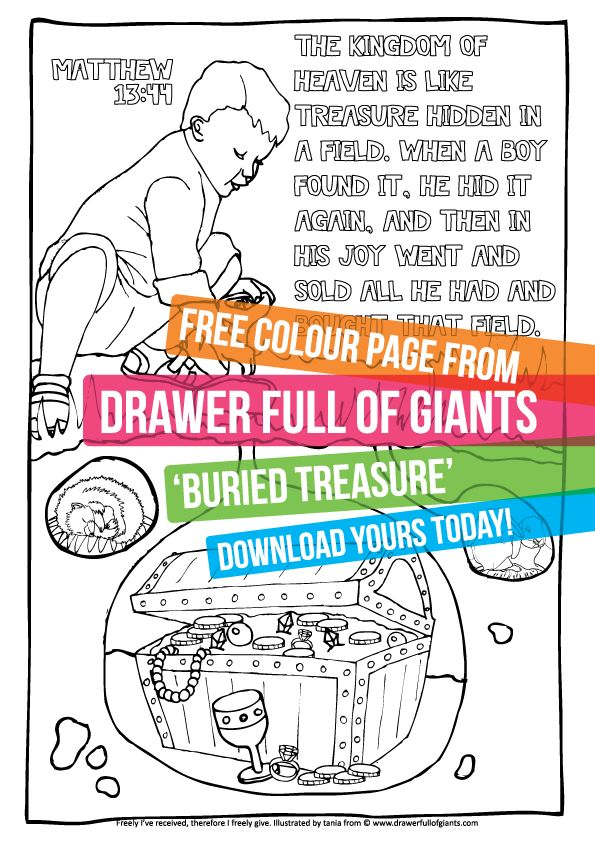 Buried Treasure - A free downloadable colouring page from drawerfullofgiants.com