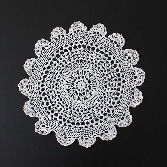 Vintage crochet doily 100% cotton cream colour