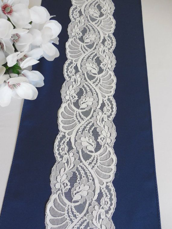 Lace and navy table runner