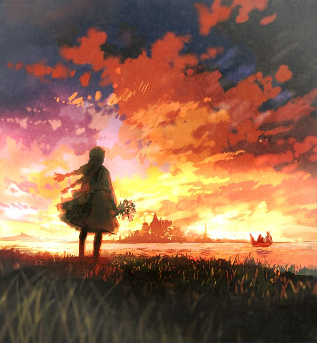 Anime Girl At Sunset Pretty Style Pics Pinterest