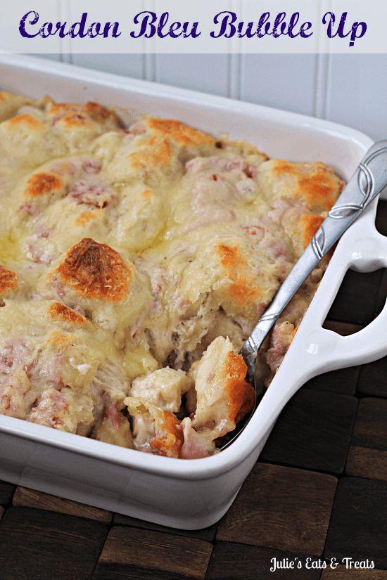 ... casserole full of biscuits, Alfredo sauce, chicken, ham and swiss