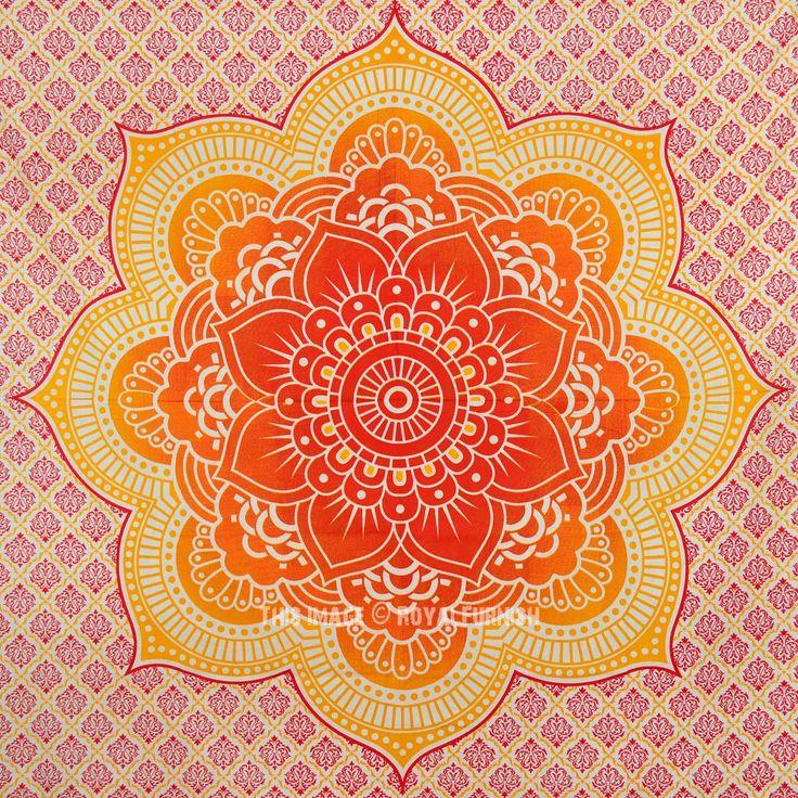 Shop Orange Geometric Flower Circle Mandala Wall Tapestry