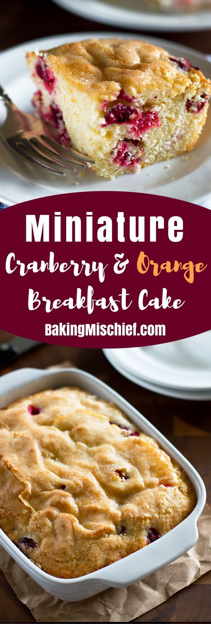 This Mini Cranberry Breakfast Cake is a perfect easy breakfast for two to four. Recipe includes nutritional information. From http://BakingMischief.com