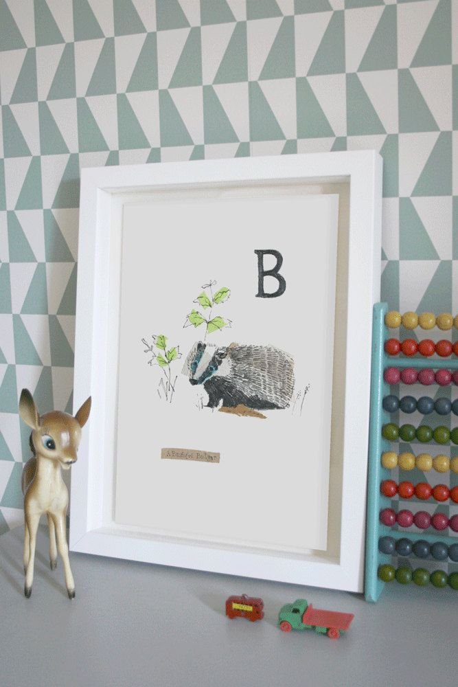 Bashful Badger, Animal Alphabet Gicleé print with Neon Tape by lizkingillustration on Etsy