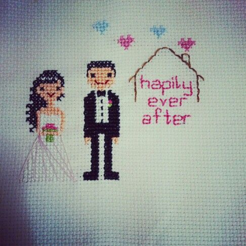 Hapily ever after,  cross stitch, groom, bridge