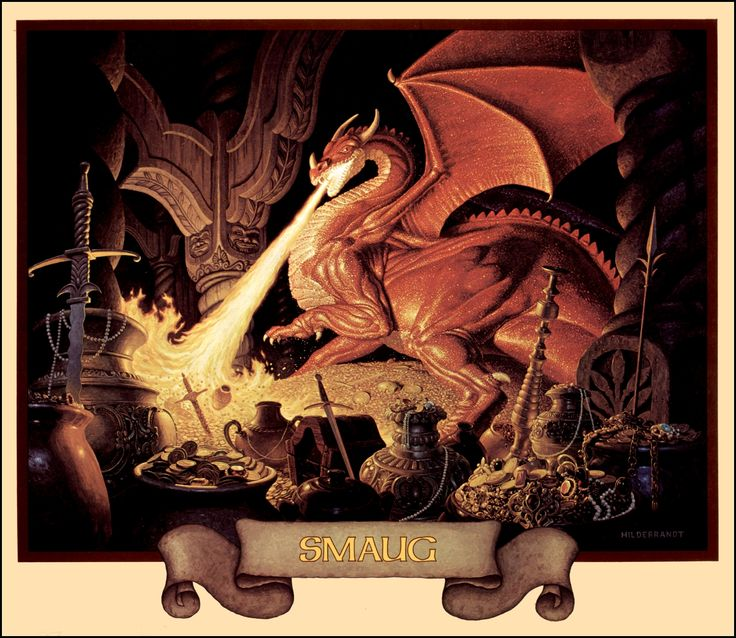 Smaug (from the 1976 Brothers Hildebrandt Tolkien calendar)Smaug, Dragons, Fantasy Art, The Hobbit, Science Fiction, Middle Earth, Red Art, Jigsaw Puzzles, Brother Hildebrandt