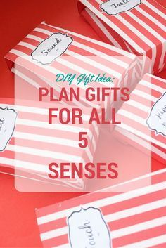 DIY Gift Ideas: try planning gifts for all 5 senses. It's so cute! + you can make these adorable boxes to keep them in. Tutorial is in the link :)