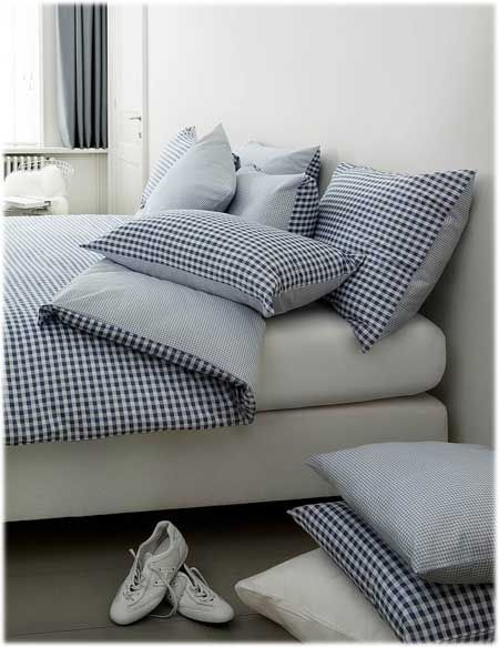 Housse couette + 1taie 140×200 Vichy bleu Passion