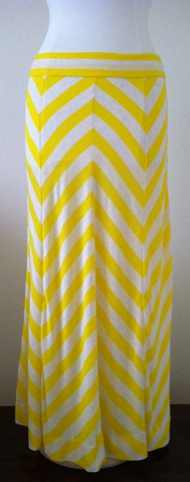 Yellow and cream chevron skirt from Daintybutton etsy shop