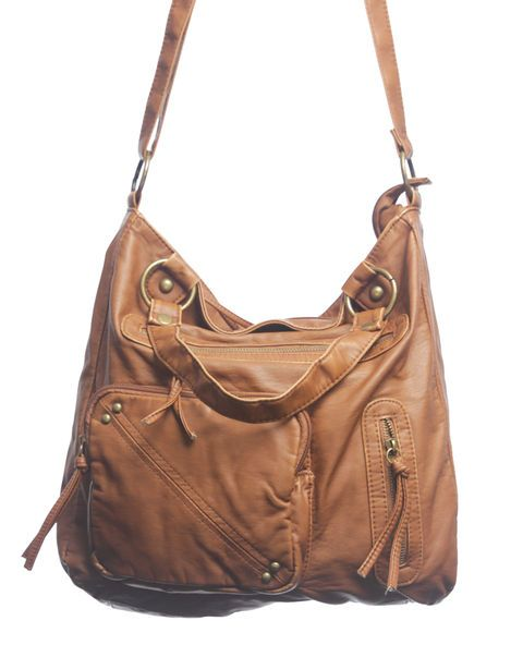 Oversized bags to carry everything you need (and want!) are a must!  Especially this large purse that's made with soft faux leather, and has  zipper and stud detailing on the outside. It features all the  compartments you could ask for with three exterior pockets and three  interior pockets, including one with a zip closure. Zip the entire bag  closed and choose from wearing the bag like a satchel with its  adjustable crossbody strap, or traditionally with double shoulder  straps. ...