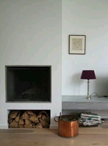 Hoek haard tv meubel beton