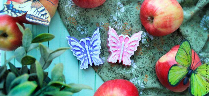 """Купить Мыло """"Бабочка"""" - брусничный, мыло бабочка, мыло ручной работы, мыло для девочки"""